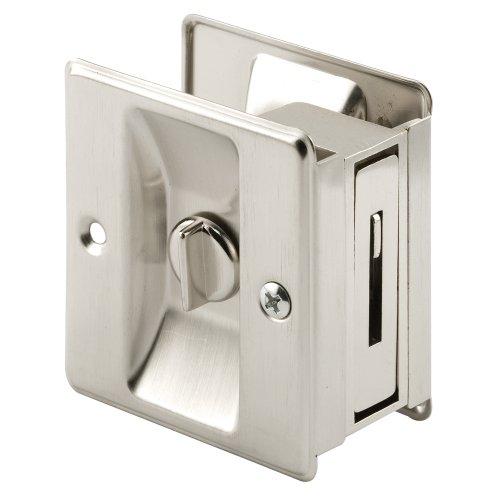Prime-Line N 7239 Pocket Door Privacy Lock, 1 Pack, Satin Nickel
