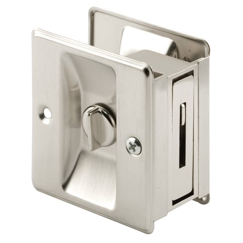 Prime-Line N 7239 Pocket Door Privacy Lock with Pull, Solid, Satin Nickel Finish