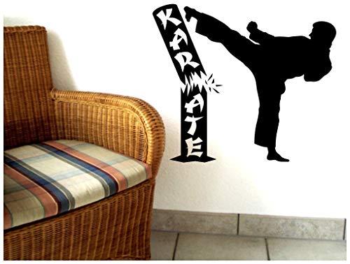 Samunshi® Wandtattoo Karate Karatekämpfer in 8 Größen und 25 Farben (110x95cm schwarz)