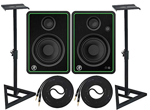 Lowest Price! Mackie New! CR4-X Pair Multimedia Studio Monitors and Adjustable Stable Stands with 2 ...