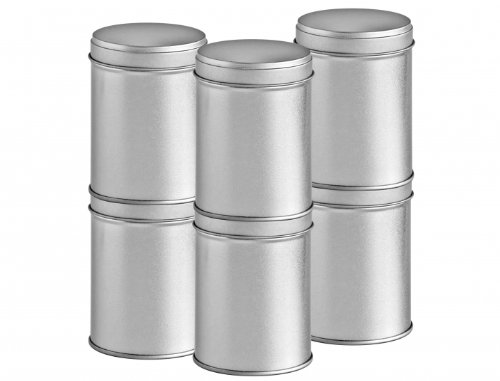 24er Pack große Gewürzdosen stapelbar mit extra Aromadeckel inkl. 24 Etiketten + 4 Streueinsätze | Höhe: je ca. 9,0 cm, Ø je ca. 6,4 cm | Dosen Material: Weißblech | BPA-frei und lebensmittelecht