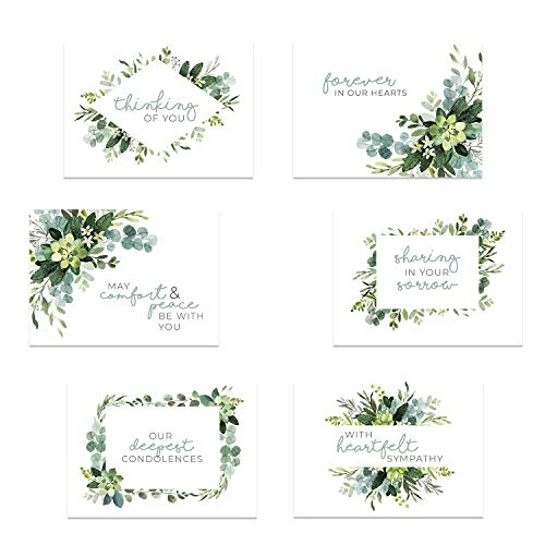 Greenery Floral Sympathy Cards / 24 Sympathy Cards And Envelopes / 6 Modern Designs