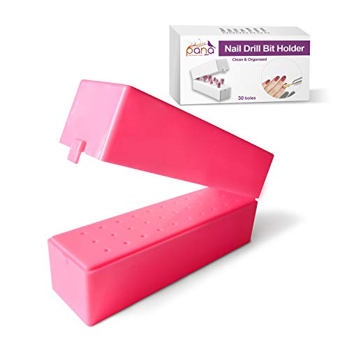 PANA Nail Drill Bit Holder 30 Holes Stand Display Organizer Pink - Dust Proof Storage Container Box Case Tools for Home Use or Nail Salon