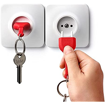 Unusual Wall Keyholder Stylized as Electrical Wall Socket Plug and Key Ring Great Unique Gift for Him or Her White Color Unplug Key Holder by Qualy Design Studio Designer Gift for Creative People.
