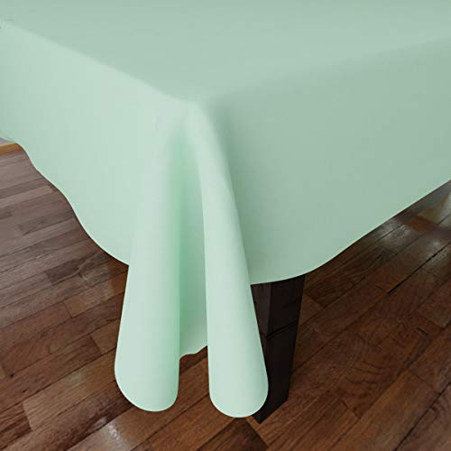 Encasa Homes Plain Colour Cotton Oxford Tablecloth for 6 to 8 Seater Large Dining Table - 142 x 182 cm, Mint Green - Cotton Canvas Fabric, Mercerised, Washable, Rectangular for Home & Restaurant
