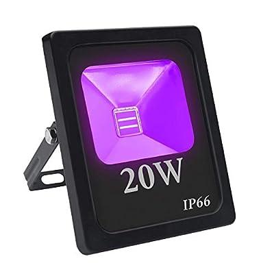 UV LED Floodlight, Eleganted 20W Ultraviolet Black Light DJ Disco Light Waterproof IP66 LED Spotlights for Stage Bar Club Halloween Fluorescent Party Decoration Lighting(20W, UV)