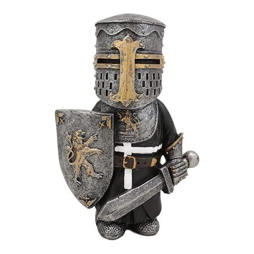 Mittelalterliche Gartenzwerge, Ritterzwerge Wache, Mittelalterliche Renaissance Ritter des Kreuzes Templer Kreuzritter Figur, Hohe Rüstung Miniatur Europäische Ritter Skulptur