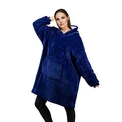 RainRose Blanket Sweat à capuche plaid surdimensionné Sherpa Pullover Femme Cadeaux Filles Couverture à Manches Doux Chaud Pull à Capuche Taille Unique pour Femme/Homme Couleur Bleu