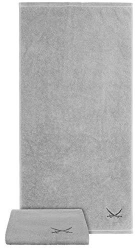 Sansibar Handtuch 2er Set 50x100 cm 100% Baumwolle mit gesticktem Säbel Logo Badtuch Silber