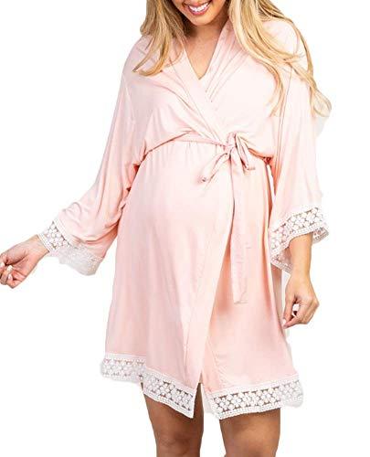 Eghunooye Schwangere Frauen Morgenmantel Blumen Spitze Bademantel Umstands Robe Nachtwäsche Sleepwear (Rosa, L)