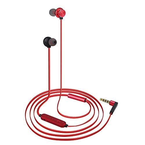 Wired Earbuds, Voice Changer,in-Ear Metal Earphones,Bass Stereo Headphones,Sports Earbuds for Running with Magnetic Connection (Red)