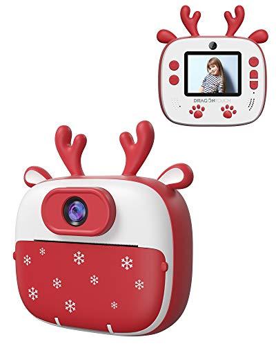 Dragon Touch Sofortbildkamera Kinder Kamera 2 Zoll 1080P Digital Kinderkamera mit 5 Druckpapier, Cartoon-Aufklebern, Kameratasche Geschenk für Kinder InstantFun Print Kamera (Rot)