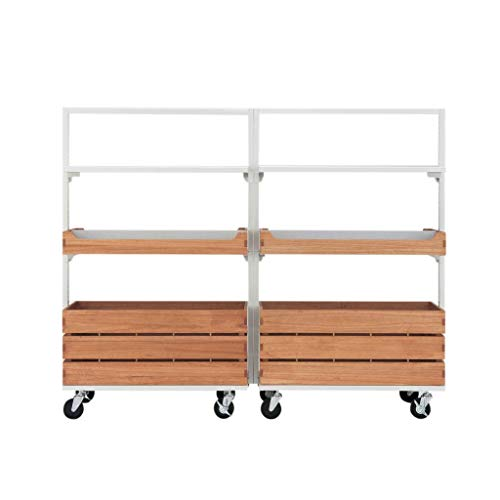 Tumiki Series W180 - Mueble de pantalla con ruedas (doble juego, barra para colgar, estante y ranura)