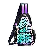 FZChenrry Borsa a tracolla Geometrica Zaino da donna fluorescente olografico zaino riflettente festival borsa Multicolore No.3 Piccolo