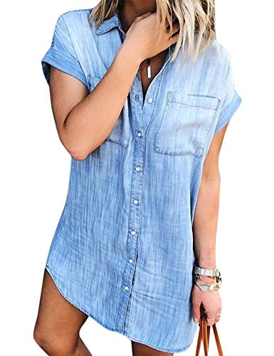 Women Denim Shirt Dresses Short Sleeve Distressed Jean Dress Button...