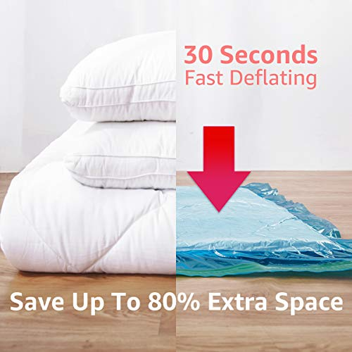 CLEVHOMプレミアム真空収納バッグバラエティパック8個入り80%収納ダブルジップシールとトリプルシールターボバルブで最大限のスペースを節約。寝具、毛布、衣類、ポンプ不要。