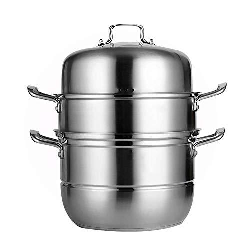 GCP Cocina a Vapor de inducción de Acero Inoxidable de 3 Niveles con Tapa de Vidrio Utensilios de Cocina Juego de ollas 28cm, 30cm, 32cm-28cm