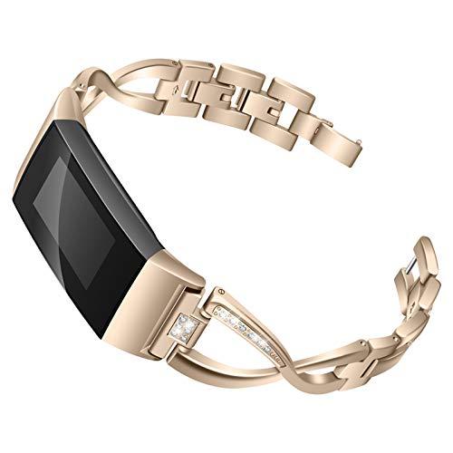 XIALEY Correa Compatible con Fitbit Charge 3 / Fitbit Charge 4, Pulseras De Repuesto para Banda De Diamantes De Imitación con Brazalete De Metal Deportivo Mujer para Charge 4 / Charge 3,Vintage Gold
