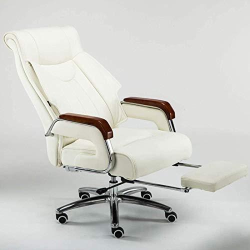 Noble Chair Leder Bürostuhl mit Pull-Typ-Fußstütze High Back PC Swivel Gaming Schreibtischstuhl (Color : Milky White)
