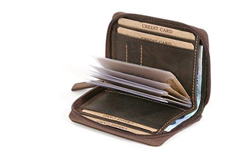 Tarjetero de crédito con la Cremallera y Compartimento de Notas Vintage Style LEAS, Piel auténtica, marrón