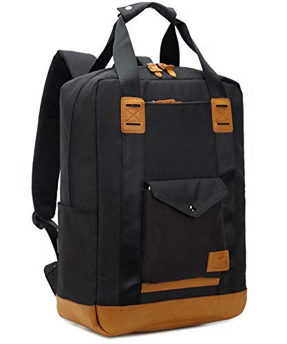 Vintage Canvas Bag, Portable Travel Backpack, Professional Nylon School Backpack for Business Backpack for Men, Women, 15.6 Inch Laptop and Laptop Men, Black, One Size