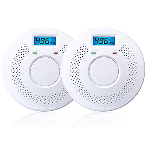2 Pack Digital Display Combination Photoelectric Smoke Detector Alarm Protect Your Home from Fire and Gas Leaks