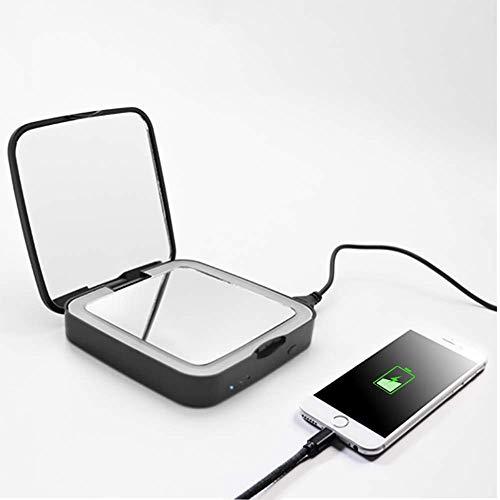 ZLMFBMStom make-upspiegel voor op reis, kan helpen om de telefoon op te laden, make-up spiegel met ledverlichting, make-up spiegel, USB, 5-voudige vergroting, zwart