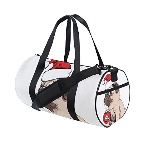 ZOMOY Sac de Sport,Adorable Bonnet de Santa Pug Puppy Pug Beige,Nouveau Cylindre d'impression Sac de Gym Voyage Duffel Bagages Toile Sac à Main