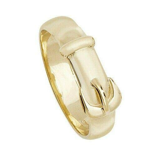 Yellow Gold Buckle Ring Men's Gents Plain Band 9K Hallmarked British Made / Size: W