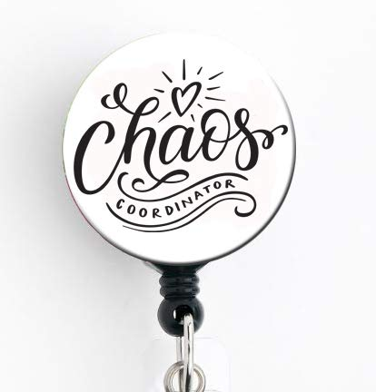 Chaos Coordinator - Retractable Badge Reel with Swivel Clip and Extra-Long 34 inch Cord - Badge Holder/Nurse/Teacher/Hospital/Funny/Cute