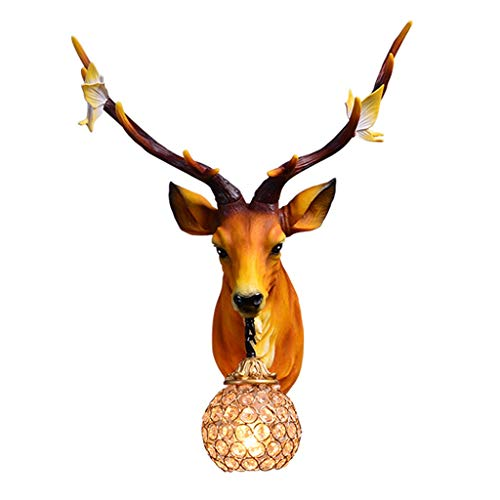 Wall Sculptures Antlers Wall Lamp Resin Deer Head Animal Head Wall Hanging Resin Deer Head Home Decoration Artificial Antlers (Color : Yellow, Size : 41 * 56 * 21cm)