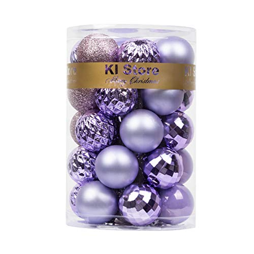 KI Store 34ct Christmas Ball Ornaments 1.57' Small Shatterproof Christmas Decorations Tree Balls for Holiday Wedding Party Decoration, Tree Ornaments Hooks Included (Lavender Purple, 1.57-Inch)