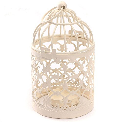 Qingsun Metal Tealight Candle Holder Lanterns Creative Wedding Home Table Decoration Birdcage White 8x14cm