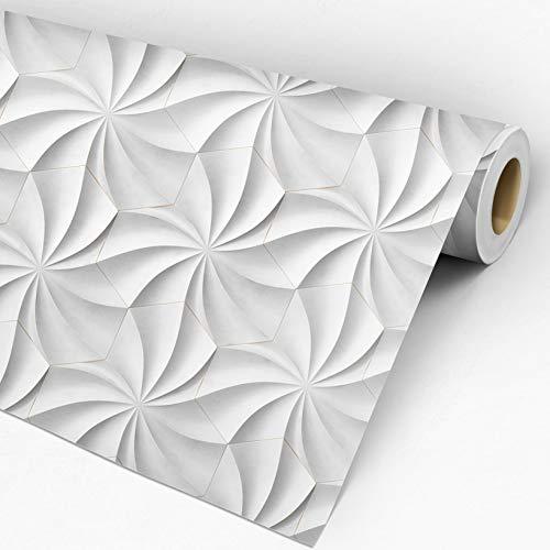 Papel de Parede 3D Adesivo Lavável Geométrico Flores AutoRelevo