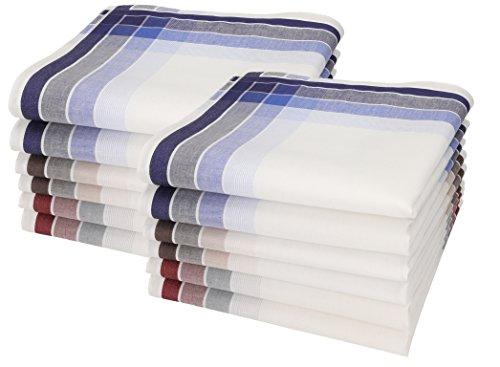 Betz 12 Stück Herren Stoff Taschentücher Set Leo 4 100% Baumwolle Größe 40x40 cm Dessin 1