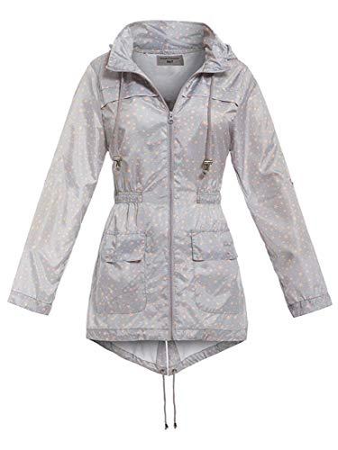 SS7 - Impermeabile impermeabile da donna, colore grigio, rosa, taglie da 8 a 16 Grigio 52