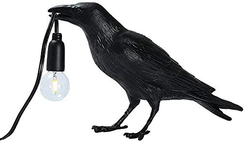 Crow Creative luces LED, decoración de pájaro, para dormitorio, cama, estudio, residencia universitaria, centros comerciales y otras casas decorativas (negro, posición de pie)