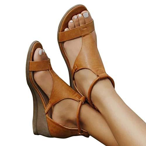 Minetom Frauen Keilabsatz Sandalen Sommer Offene Schuhe Faux Leder Plattform Rom Damen Flip Flops Freizeit Sommerschuhe A Khaki 38 EU