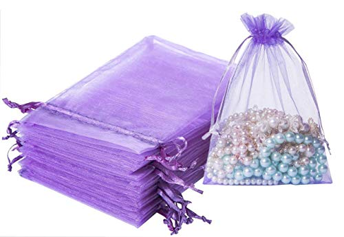 100PCS 5X7 inches Drawstring Organza Bags lavender,Mesh Candy Bags Jewelry Pouches Drawstring Empty Sachet for Present Wedding Giveaways Party Wedding Favor Gift Bags