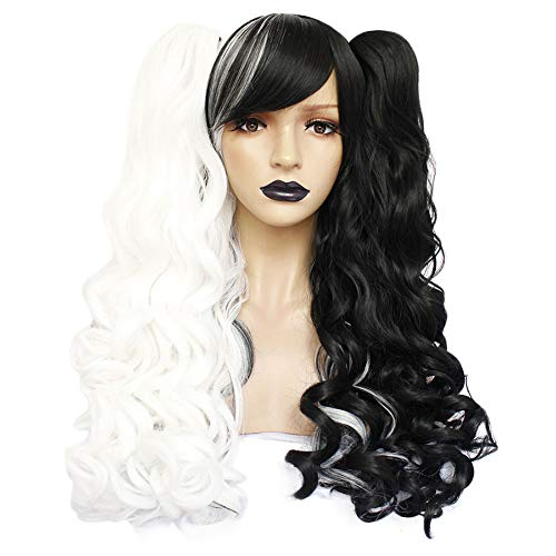 ANOGOL Hair Cap +Black and White Wig for Lolita Wigs Long Curly Synthetic Hair