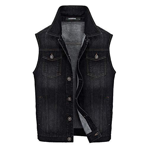 Chaleco de Mezclilla sin Mangas para Hombre Primavera Otoño Chaqueta con Bolsillos Chaleco de Vaquero Outwear
