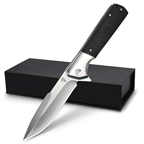 NedFoss Survival Klappmesser aus D2 Stahl schwarz - Scharfes Outdoor Survival Messer - Outdoormesser mit Gürtelclip - extra scharf (Beast)