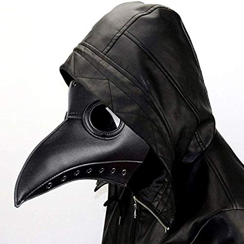 ALIXIN-Medieval Black Death Plague Doctor Vogel Schnabelmaske,Heavy Metal Rock Maske,Gothic Retro Steampunk Props Masken,Long Nose Beak Steampunk für Halloween Christmas Party Kostüm Kopf Maske.