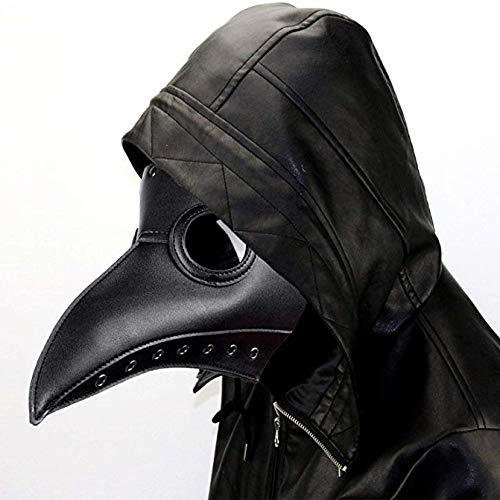 ALIXIN-Medieval Peste Doctor Máscaras de Pájaro,Heavy Metal Rock,Gótico Vapor Punk Máscara,Pico de Nariz Largo Cosplank Vapor Punk Fiesta de Navidad Punk Disfraz de Cabeza,Máscara de la Peste Negra.