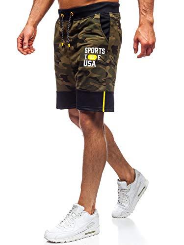 BOLF Herren Hose Kurzehose Sporthose Jogging Military Camo Army Motiv Sport Style J.Style KK300158 Khaki M [7G7]