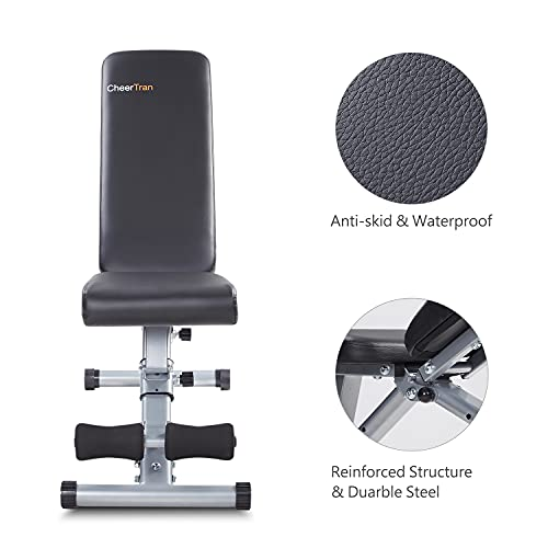 Adjustable Weight Bench, CheerTran 700LBS Workout Benches for Home Easy Storage - Strength Training Gym Exercise Bench
