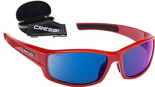 Cressi Hunter Sunglasses Gafas de Sol Deportivo, Adultos Unisex, Rojo/Lentes Espejadas Azul, Talla única