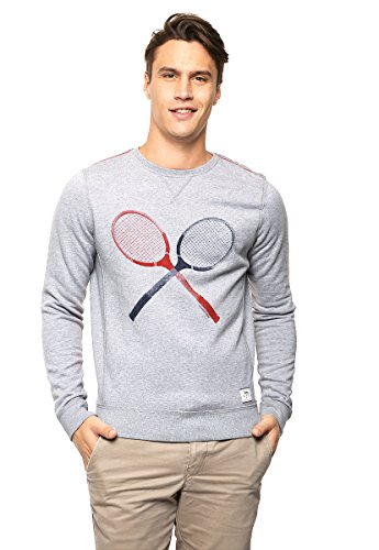 Hilfiger Denim Basic Logo Heather CN hknit l/s 4 Sweat-Shirt, Gris (Light Grey HTR), X-Large (Taille Fabricant: XL) Homme^Homme