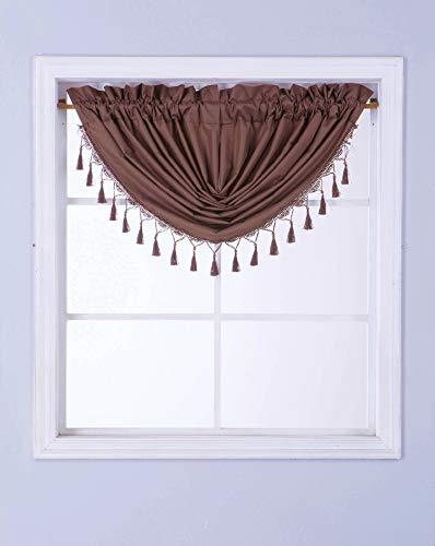 GorgeousHomeLinen (RS8) 1 Short Decorative Rod Pocket Foam Lined Blackout Silk Swag Waterfall Window Curtain Valance for Kitchen, Living Room, Bedroom, Nursery, Basement & Bathroom (Brown)