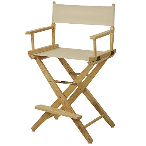 "American Trails Extra-Wide Premium 24"" Director's Chair Natural Frame with Natural Canvas, Counter Height"